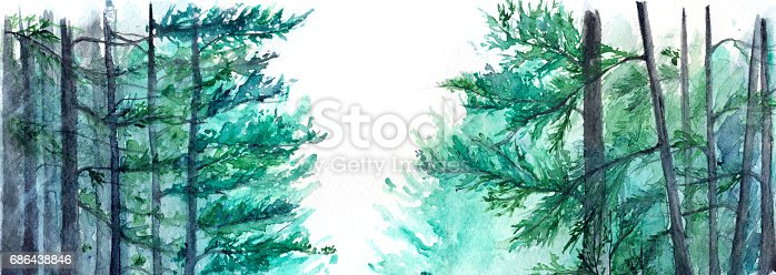 istock Watercolor turquoise winter wood forest pine landscape 686438846