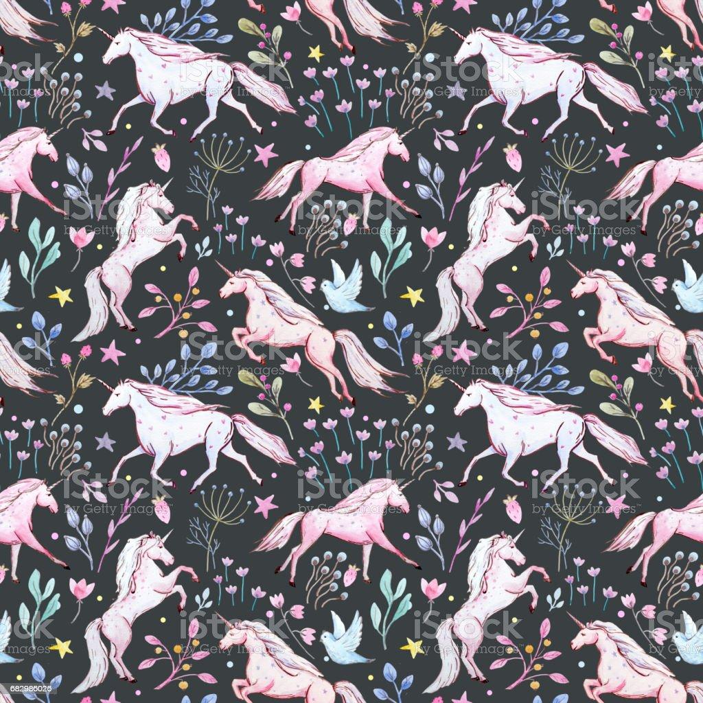 Watercolor unicorn pattern watercolor unicorn pattern - arte vetorial de stock e mais imagens de botânica - ciência de plantas royalty-free