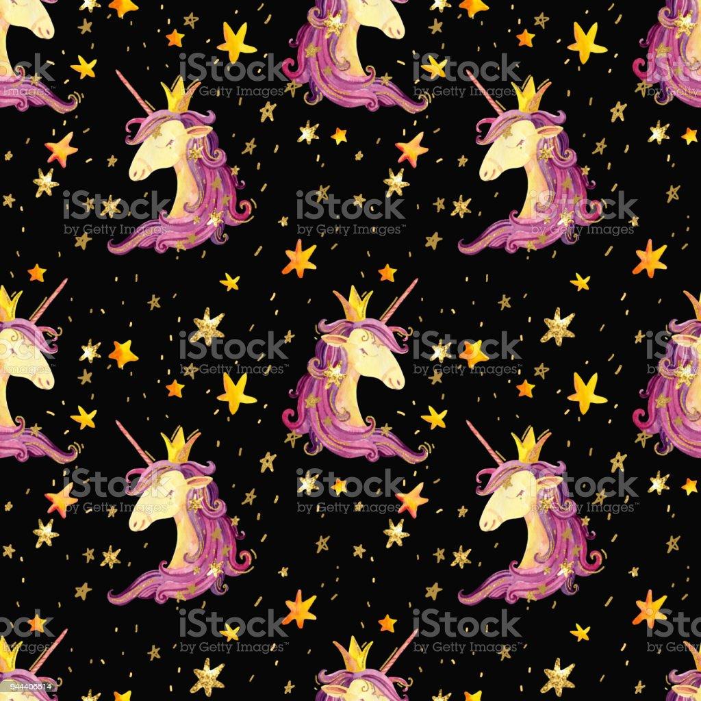 Watercolor Unicorn Seamless Pattern Immagini Vettoriali Stock E
