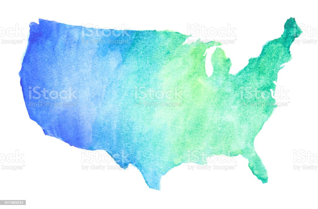 Watercolor United States Map Stock Illustration - Download ...