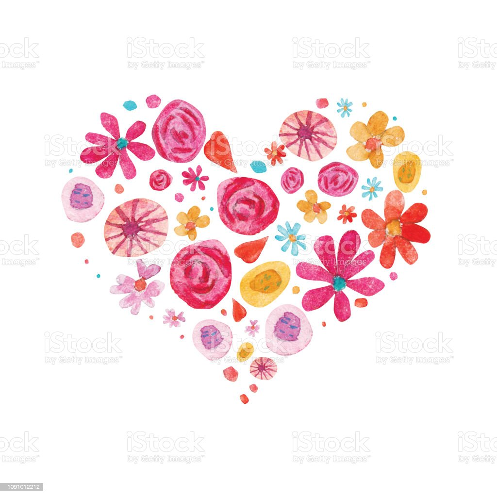 Watercolor Valentine day isolated illustration on white. Hearts and flowers in heart shape composition векторная иллюстрация