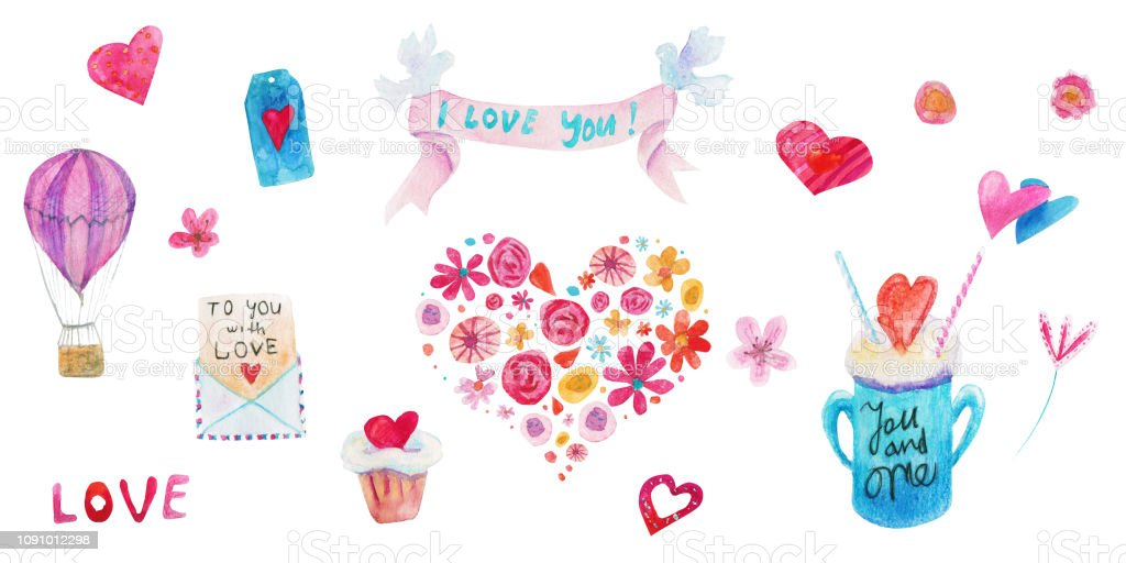 Watercolor Valentine day isolated illustration on white. Ribbon, pigeons, cupcake, hearts, letter, badge, bow векторная иллюстрация