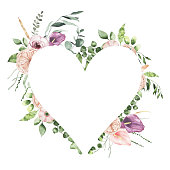 Watercolor Valentines Day floral heart frame with calla lily rose greenery leaves isolated