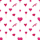 Watercolor Valentine's Day seamless pattern on a white background. Balloons, hearts, bows, bolls, and candies endless print. Cute pink romantic digital paper. Wallpaper.
