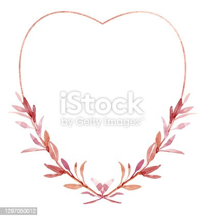 istock Watercolor valentines frame, wreath for wedding invitation or greeting card design 1297050012