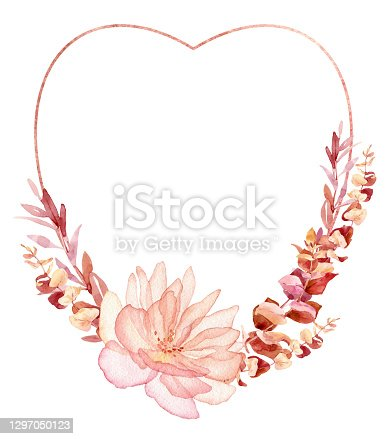 istock Watercolor valentines frame, wreath for wedding invitation or greeting card design 1297050123