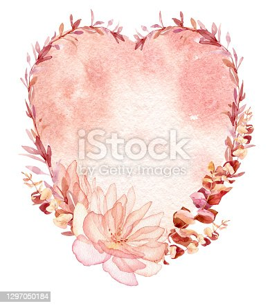 istock Watercolor valentines frame, wreath for wedding invitation or greeting card design 1297050184