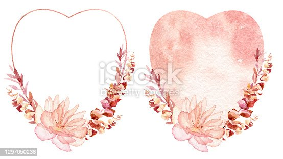istock Watercolor valentines frame, wreath for wedding invitation or greeting card design 1297050236