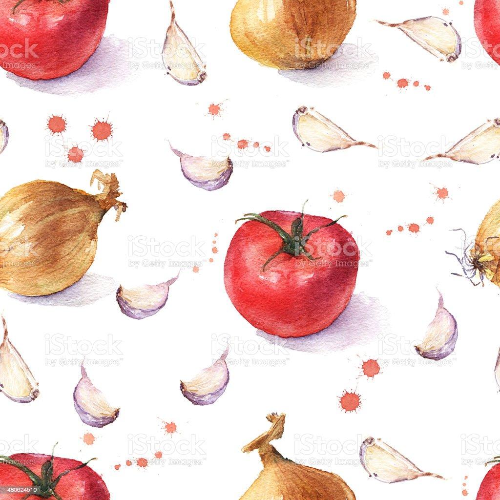 Watercolor vegetable seamless pattern on white background. Tomato, onion, garlic vector art illustration
