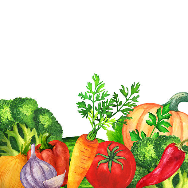 ilustrações de stock, clip art, desenhos animados e ícones de aguarela produtos hortícolas, verde folhas - red bell pepper isolated