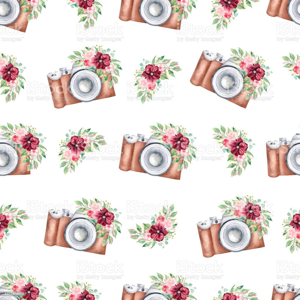 Watercolor Vintage Camera Seamless Pattern Digital Paper With Floral Cameras Clipart Illustration Stock Illustration Download Image Now Istock