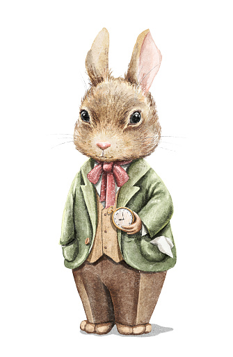 Watercolor vintage cartoon bunny rabbit in costume with gold pocket watch