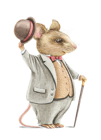 Watercolor vintage cartoon rat in costume with hat and walking stick