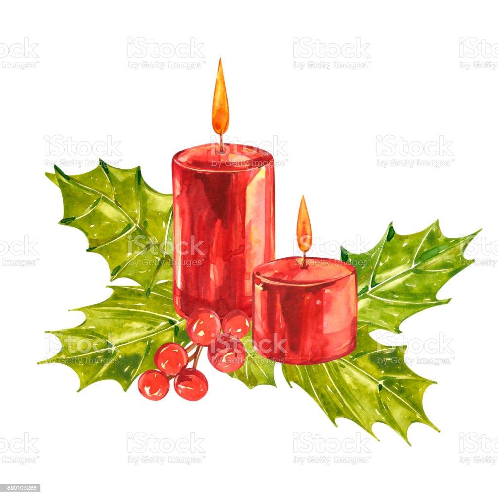 Vintage Christmas Illustrations.Watercolor Vintage Christmas Illustrations Christmas Candle