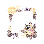 istock Watercolor vintage eucalyptus and tree branches wreath with flowers. Hand drawn floral decorative element isolated on white background. Artistic branches, peonies, feathers, arrows and gemstones. 1316377652