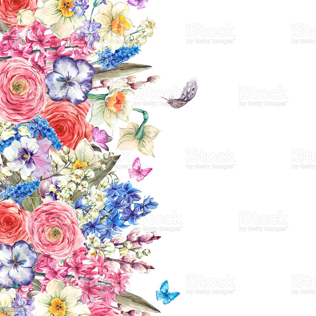 Ilustracion De Acuarela Ramo De Flores Vintage En El Nido Con