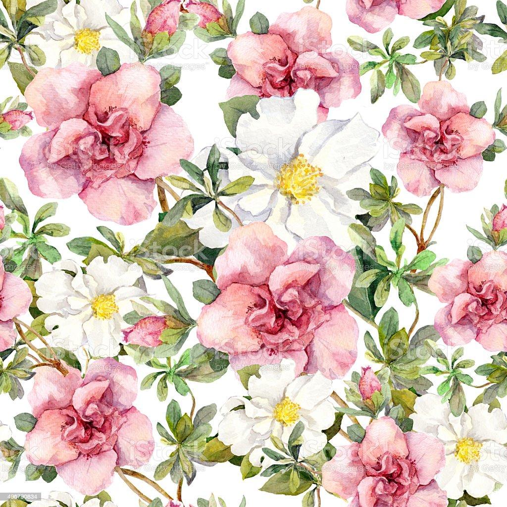 aquarelles fleurs vintage seamless motif fleuri design r tro cliparts vectoriels et plus d. Black Bedroom Furniture Sets. Home Design Ideas