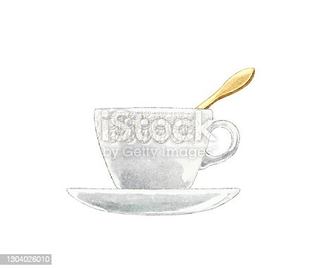 istock Watercolor vintage white tea cup on saucer with with golden spoon 1304026010