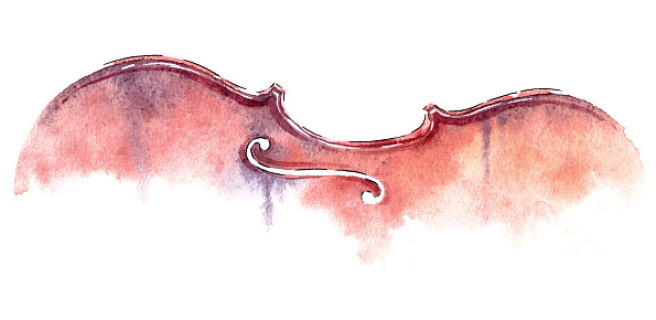 watercolor violin abstract wet wash isolated on white background