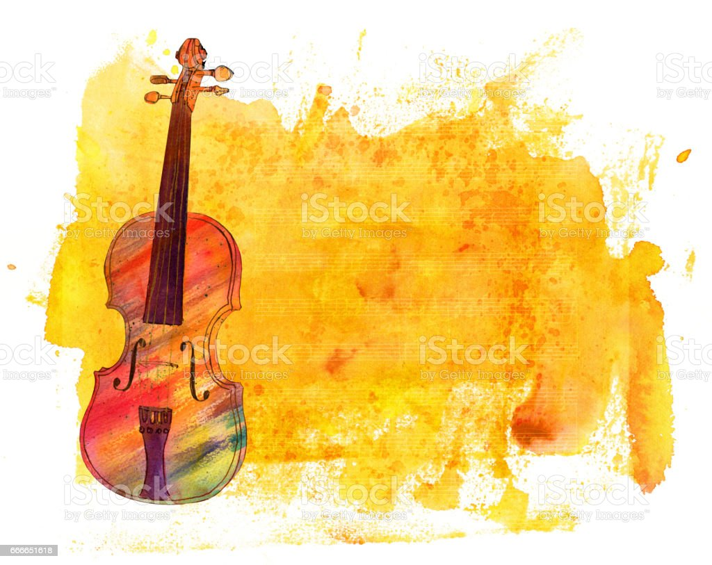 Watercolor violin on golden texture with notes and copyspace vector art illustration