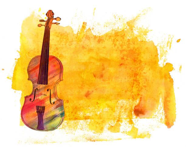 bildbanksillustrationer, clip art samt tecknat material och ikoner med akvarell violin på gyllene konsistens med anteckningar och copyspace - violin