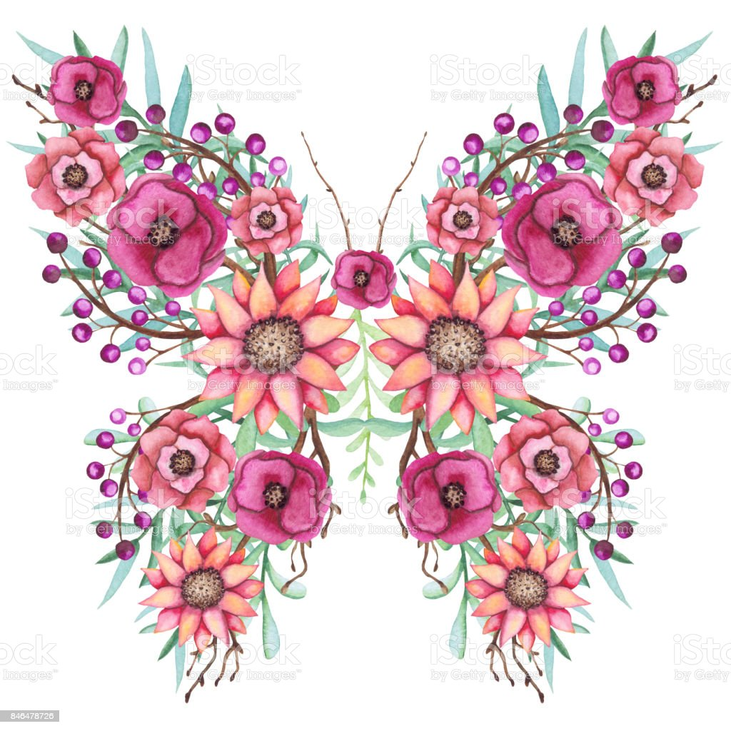 Sulu Boya Canlı çiçek Yaprak Ve çiçek Kelebek Stok Vektör Sanatı
