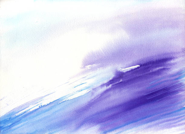 Watercolor wave with purple and blue purple and blue, perfect for your background needs tranquility stock illustrations