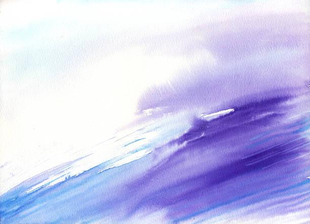 ilustrações, clipart, desenhos animados e ícones de aquarela de onda - planos de fundo borrados
