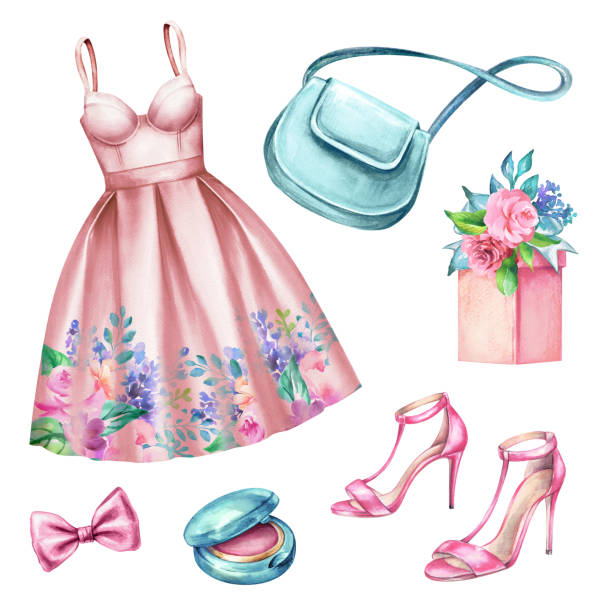 watercolor wedding fashion illustration, festive accessories, bridal elements, woman summer look, clothes clip art isolated on white background - summer fashion stock illustrations, clip art, cartoons, & icons