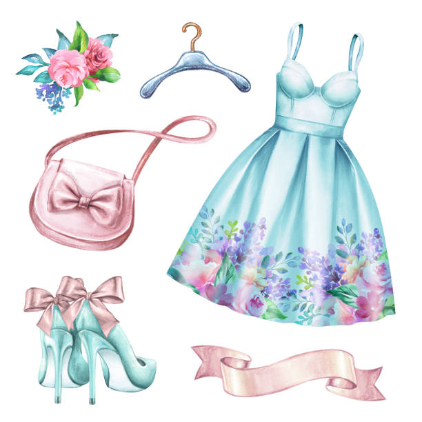 watercolor wedding fashion illustration, festive accessories, bridal elements, woman summer look, prom dress, clothes clip art isolated on white background - summer fashion stock illustrations, clip art, cartoons, & icons