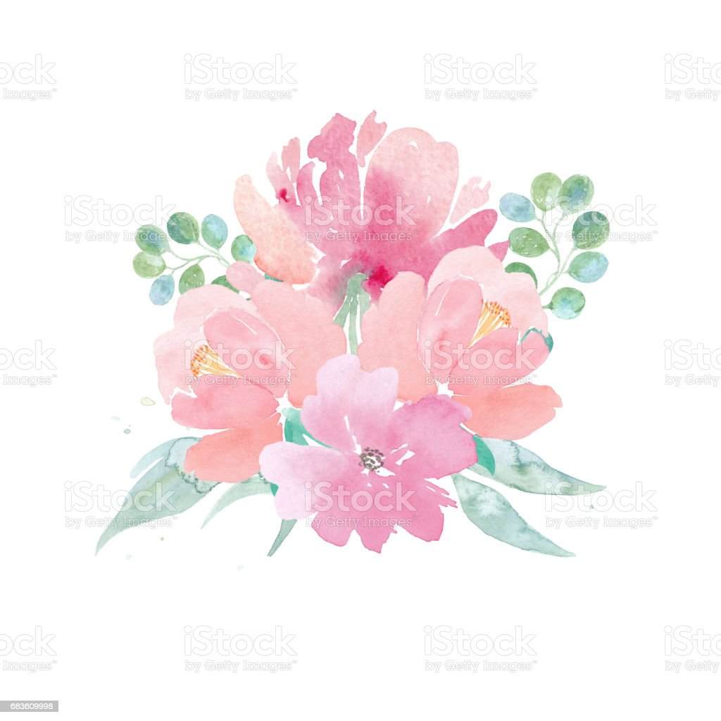 Watercolor Wedding Flowers Watercolor Peonies And Leaves Floral