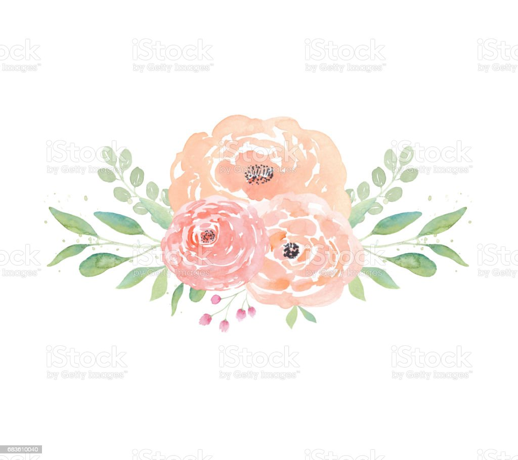 Watercolor Wedding Flowers Peonies And Leaves Floral Arrangement Clipart Royalty