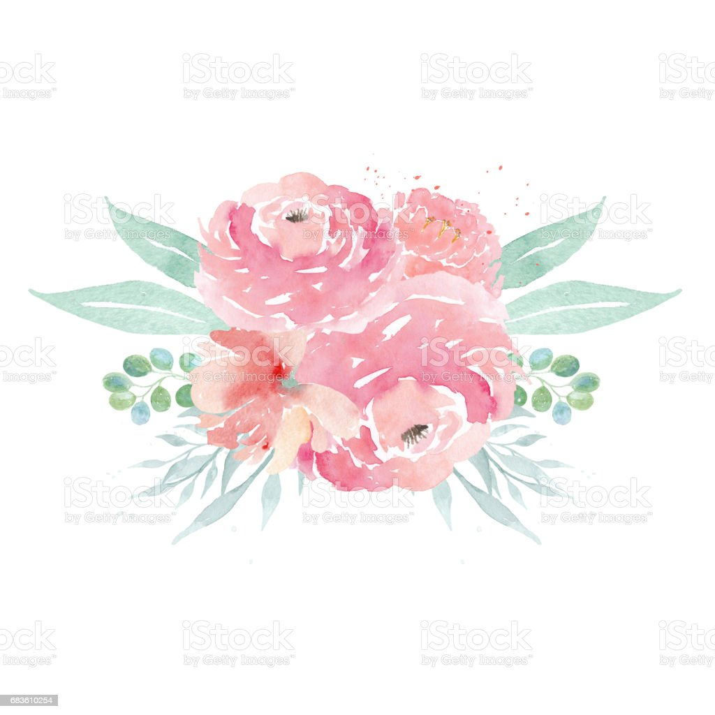 Aquarell Hochzeitsblumen Aquarell Pfingstrosen Und Blatter