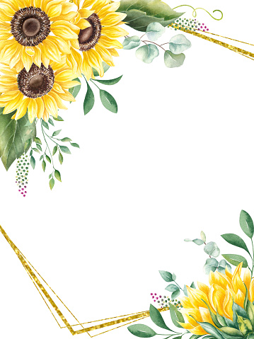Watercolor wedding invitation card template with sunflowers, eucalyptus, greenery and gold geometric frame. Floral Trendy templates with yellow flowers.