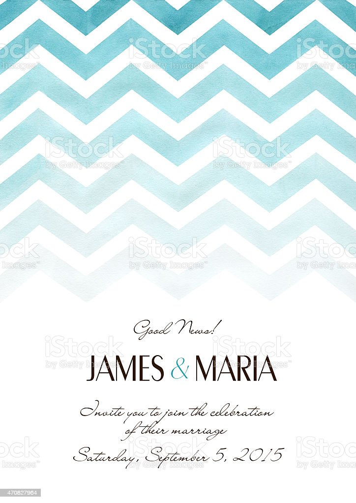 Watercolor wedding invitation card with geometric background vector art illustration