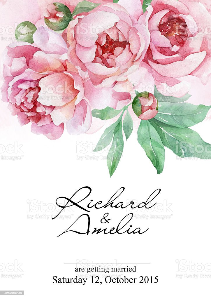 Watercolor Wedding Invitation Card With Peonies Stock