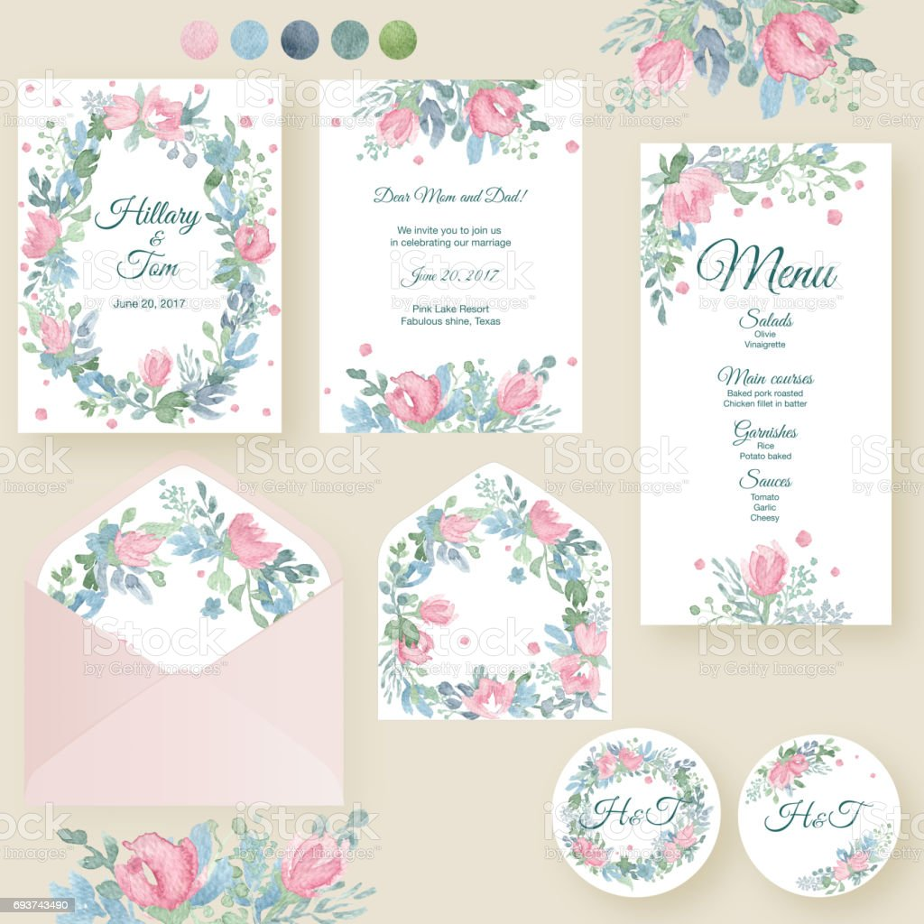9df00bb46570b Watercolor Wedding Invitation Cards Suite With Tender Roses And ...