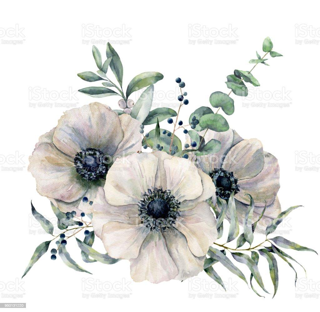 Feuille D Eucalyptus Bouquet bouquet danémones blanches aquarelle fleurs de feuilles