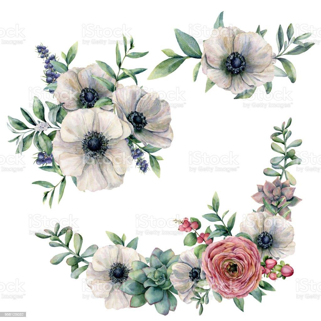 Feuille D Eucalyptus Bouquet ensemble de bouquet danémone succulente et renoncule