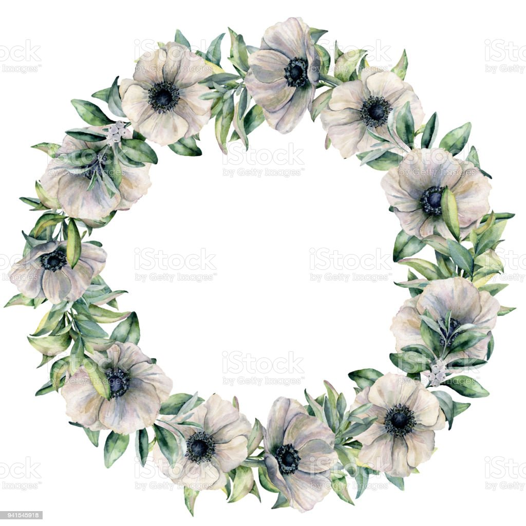 Watercolor White Anemone Wreath With Eucalyptus Hand Painted Flowers