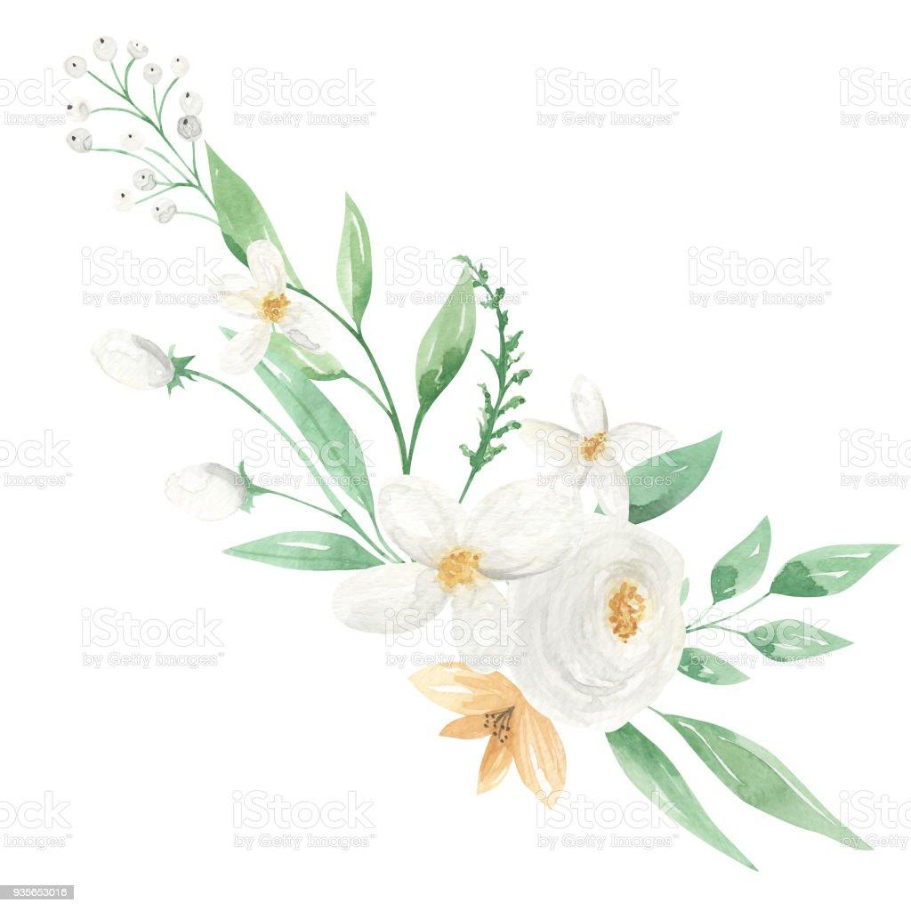 Sulu Boya Beyaz Ve Limon Aranjman çiçek çiçek Buketi Stok Vektör