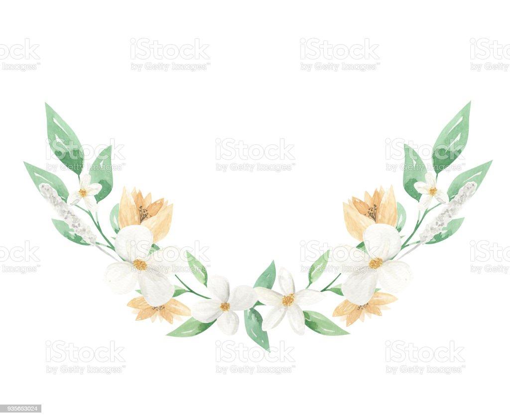 Sulu Boya Beyaz Ve Limon çiçek Buketi Arch Stok Vektör Sanatı