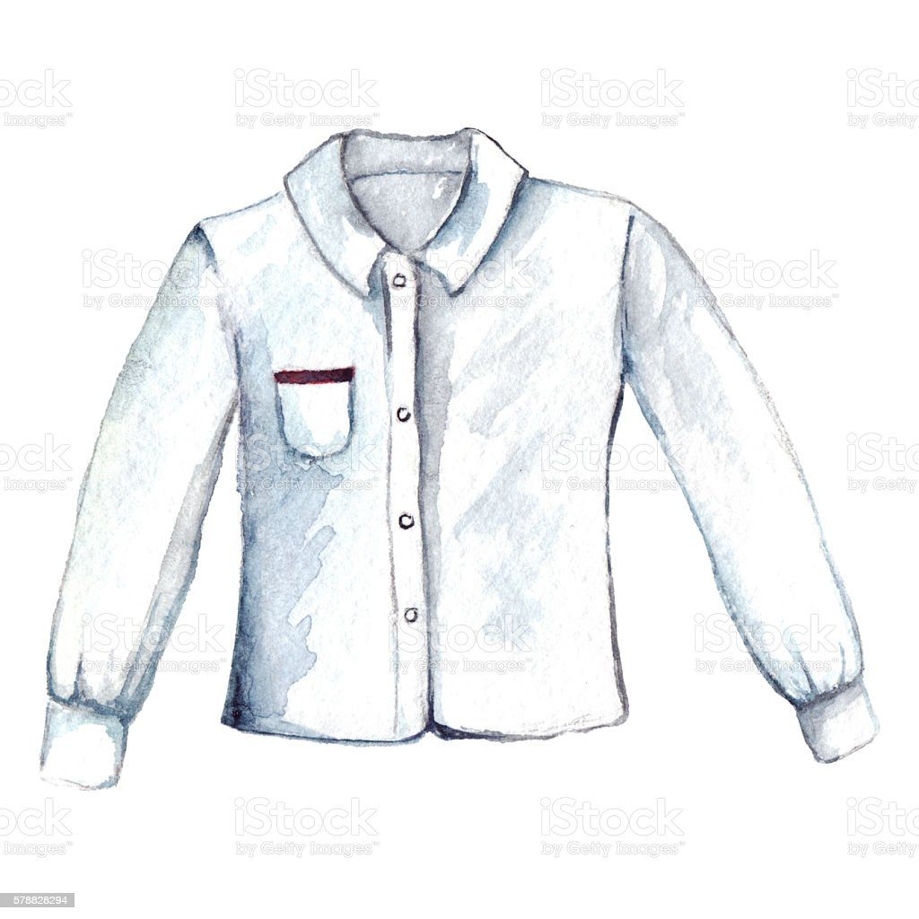 Watercolor white shirt blouse long sleeve isolated - ilustración de arte vectorial