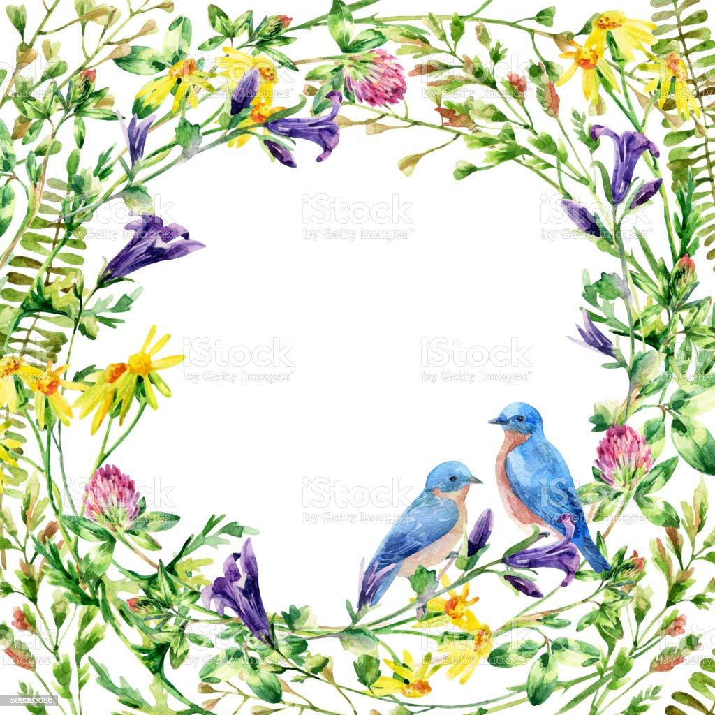 Watercolor wild flowers wreath and bluebird card vector art illustration