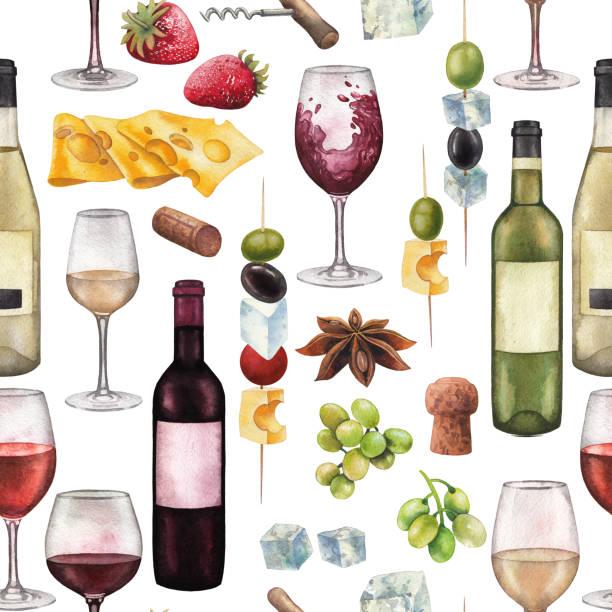 水彩のワイングラス、ボトル、その他の美味しい料理 - マスカット イラスト点のイラスト素材/クリップアート素材/マンガ素材/アイコン素材