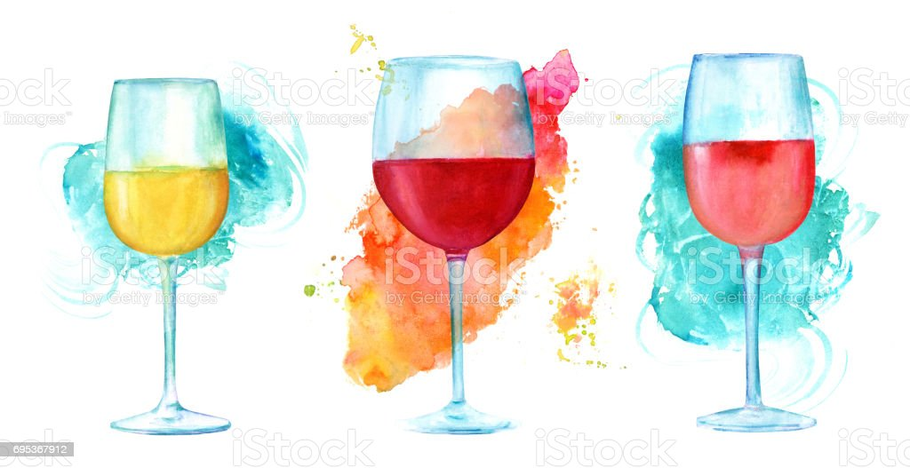 Watercolor wine glasses set with vibrant textures on white vector art illustration