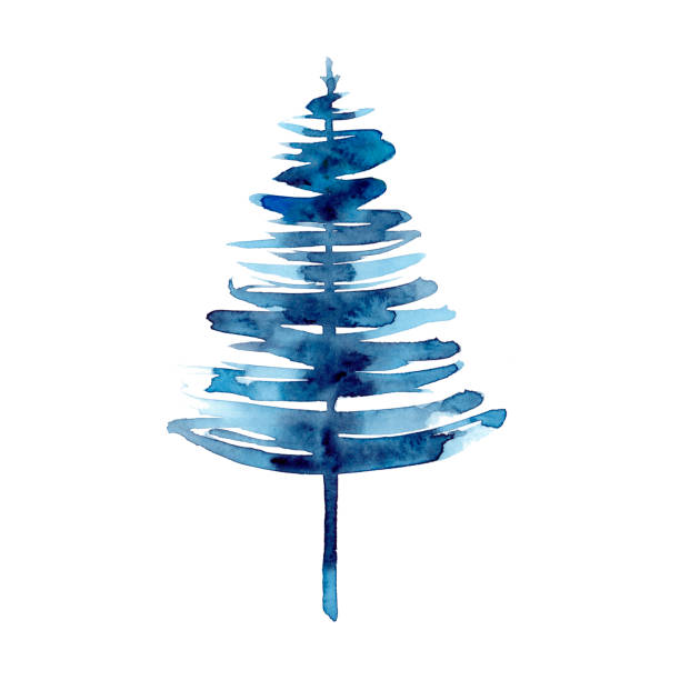 Watercolor winter blue christmas tree isolated on white background. Hand painting Illustration for print, texture, wallpaper or element. Beautiful watercolour art. Minimal style Watercolor winter blue christmas tree isolated on white background. Hand painting Illustration for print, texture, wallpaper or element. Beautiful watercolour art. Minimal style. blue clipart stock illustrations