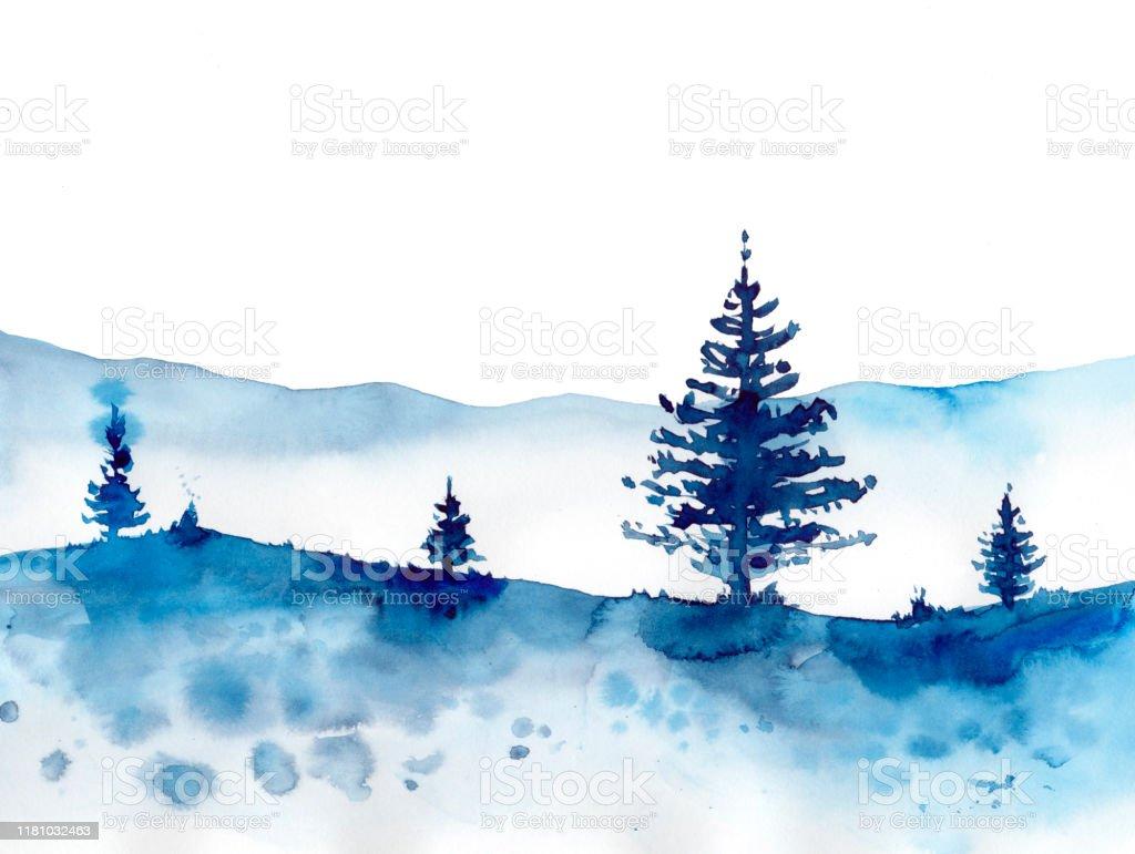 水彩の冬の森と青い雪の背景プリントテクスチャ壁紙や要素のための