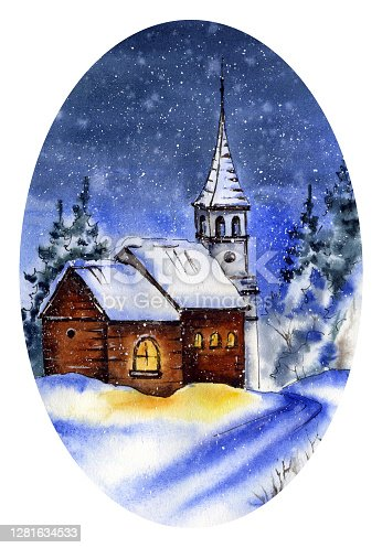 Hand painted watercolor illustration, Christmas collection. Winter landscape, silent night, old church in snowy forest. Picture of oval shape isolated on white background