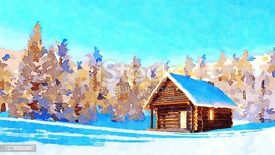 istock Watercolor winter landscape with mountain cabin 1278865867